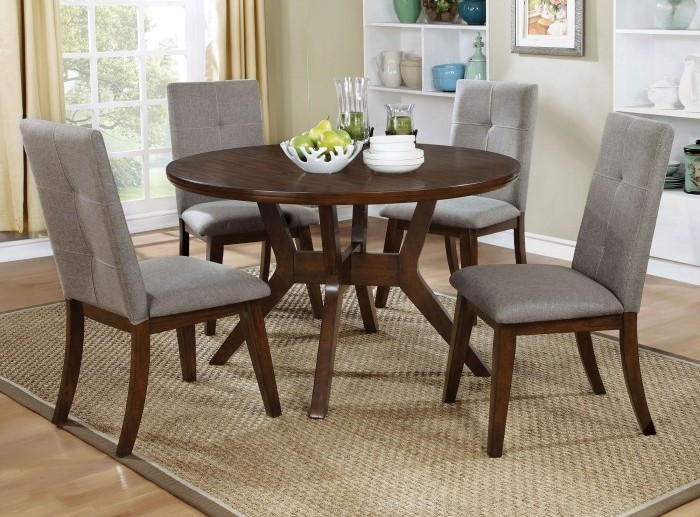 CM3354RT-CM3354SC1 5 pc Abelone collection mid century modern style walnut finish wood round dining table set