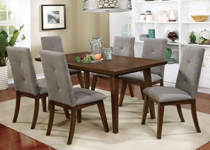 CM3354T-CM3354SC 7 pc abelone collection mid century modern style walnut finish wood dining table set