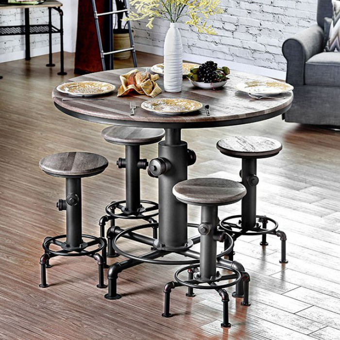 Cm3367pt 5pc 5 Pc Foskey Antique Black Fire Hydrant Inspired Counter Height Bar Table Set