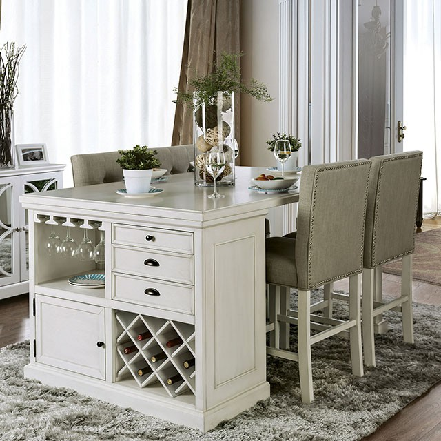 CM3390PT-5PC 5 pc Canora grey grena sutton antique white finish wood kitchen island counter height dining table set