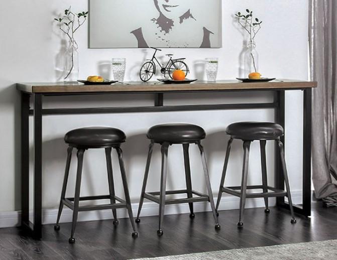 Cm3392pt 4pk Mullins Rustic Oak Black Finish Wood Bar Table And Stools Set