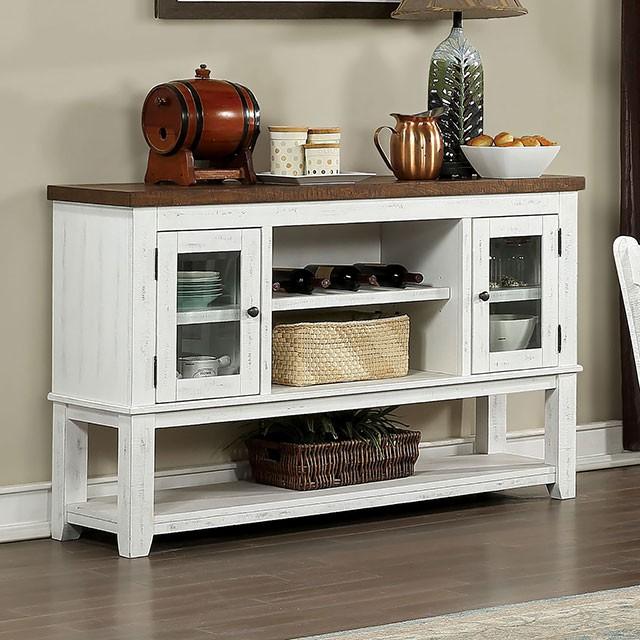 CM3417SV Gracie oaks auletta distressed white and dark oak finish wood server sideboard buffet cabinet