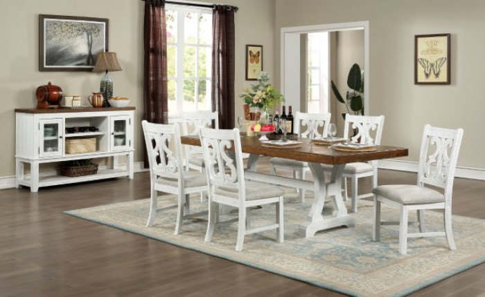 CM3417T-7PC 7 pc Gracie oaks auletta distressed white and dark oak finish wood country dining table set
