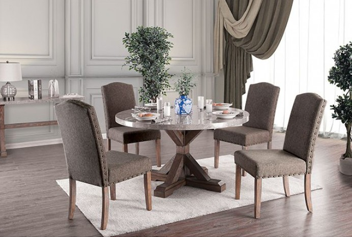 AMB Furniture and Design & CM3429RT-5PC 5 pc Bridgend natural finish wood trestle base round marble top dining table set