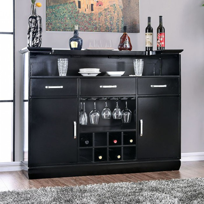 CM3452BK-BT Alena black finish wood bar table server with wine racks and touch lighting
