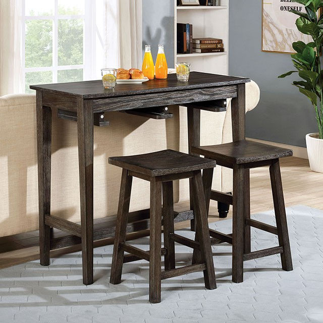 CM3475GY-PT-3PK 3 pc Gracie oaks Elinor gray finish wood counter height breakfast bistro table set