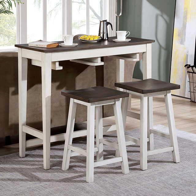 CM3475WH-PT-3PK 3 pc Gracie oaks Elinor white and gray finish wood counter height breakfast bistro table set