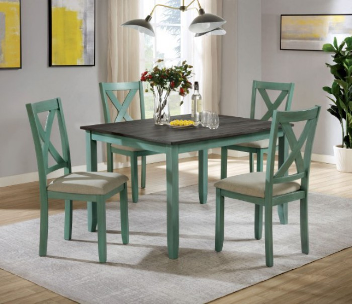 CM3476GR-T-5PK 5 pc Gracie oaks anya distressed teal and gray finish wood country dining table set