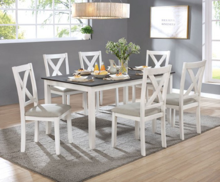 CM3476WH-T-7PK 7 pc Gracie oaks anya distressed white and gray finish wood country dining table set