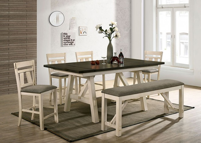 CM3487PT-6PC 6 PC Ophelia & Co. tomas jamestown ivory and dark gray finish wood country counter height dining table set