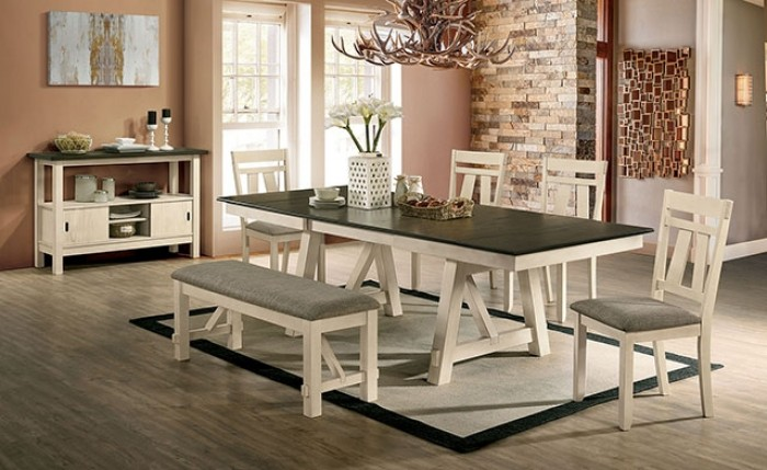 CM3487T-6PC 6 PC Ophelia & Co. tomas jamestown ivory and dark gray finish wood country dining table set