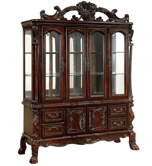 CM3557CH-HB Helena evangeline medieve cherry finish wood elegant Hutch and buffet china cabinet