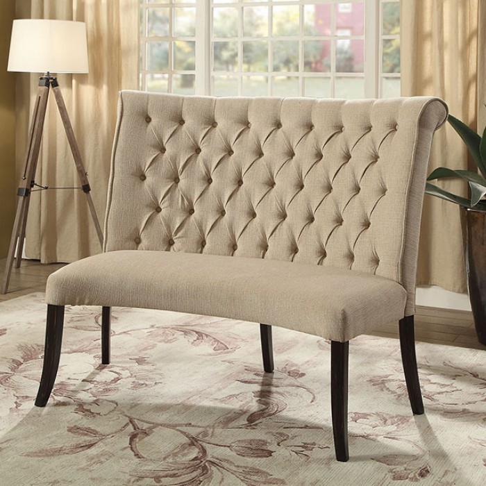 CM3564RBN Marshall beige linen like fabric antique black finish wood rounded dining bench