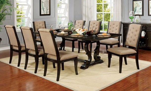 CM3577WN-T-7PC 7 pc Patience dark walnut finish wood trestle base dining table set