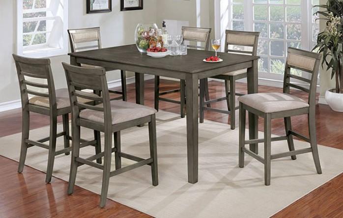 CM3607PT-7PK 7pc Winston porter fall fafnir gray finish wood counter height dining table set
