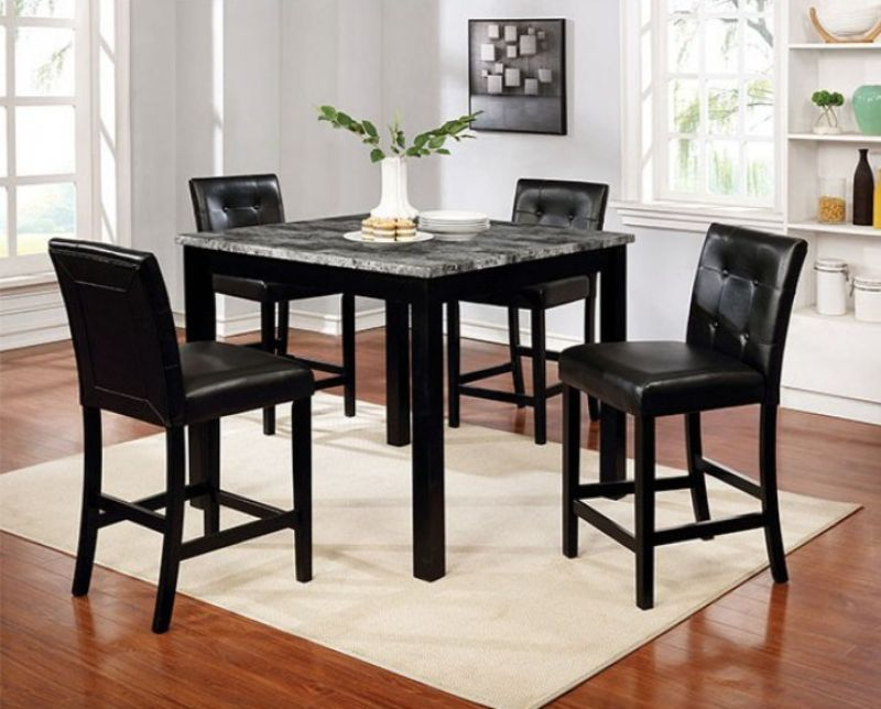 CM3712PT-5PC 5 pc Red barrel studio moerlein wildrose black finish wood faux marble counter height dining table set