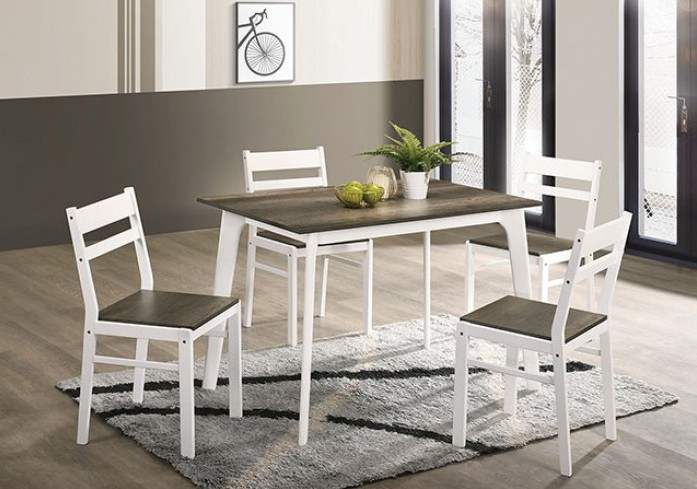 CM3714GY-T-5PK 5 pc Canora grey mel debbie grey and white finish wood dining table set