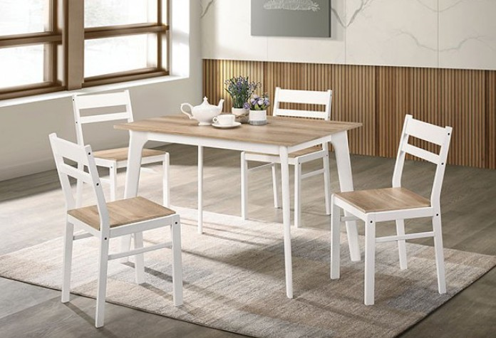 CM3714NT-T-5PK 5 pc Canora grey mel debbie natural and white finish wood dining table set