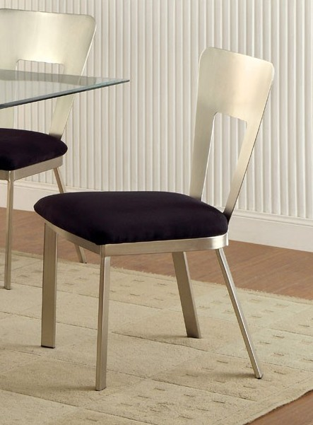 CM3728SC-2PK Set of 2 Williams import co. roxo modern style satin plated metal dining chairs