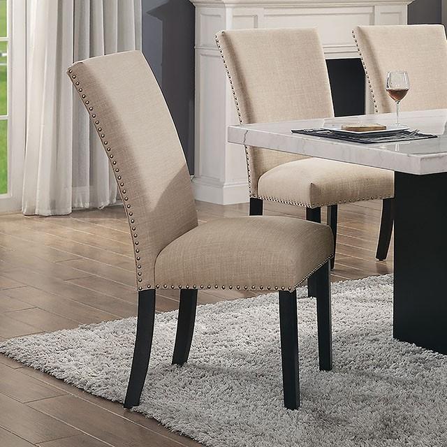 CM3744BG-SC-2PK Set of 2 Reb barrel studios kian black finish wood beige linen like fabric nail head trim dining chairs