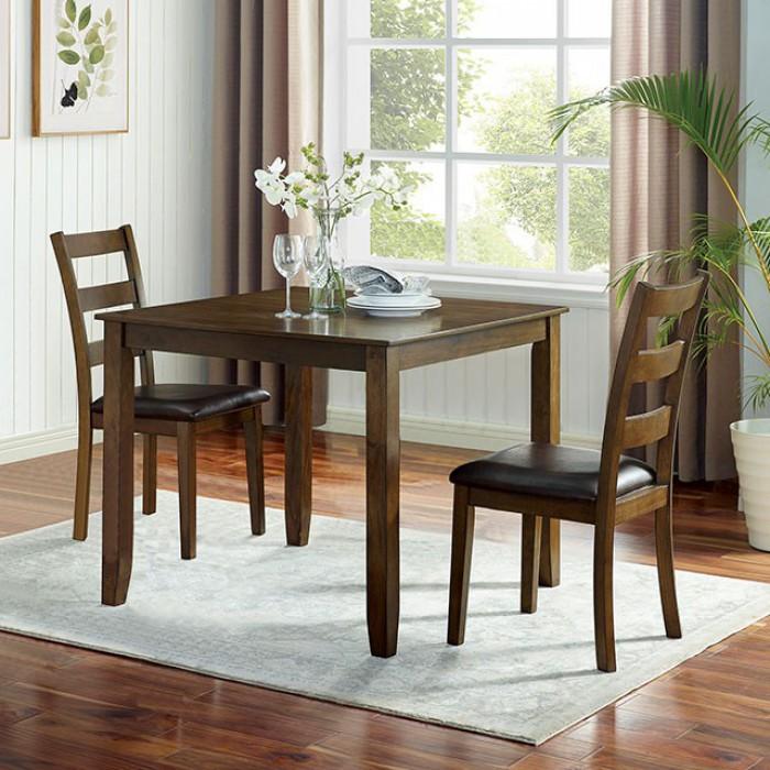 CM3770T-3PK 3 pc Canora grey mel gracefield walnut finish wood square dining table set