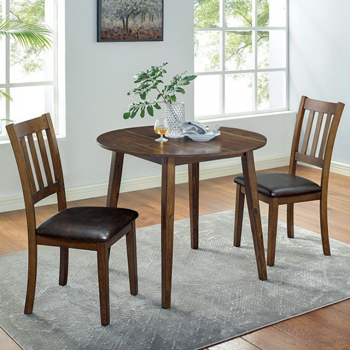 CM3771RT-3PK 3 pc Canora grey mel gracefield walnut finish wood round dining table set