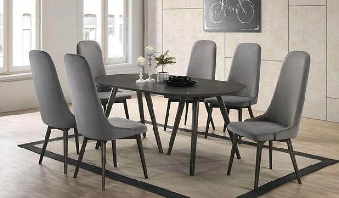 Terrific Cm3781T 7Pc 7 Pc Brayden Studio Aniya I Gray Finish Wood Mid Century Modern Oval Dining Table Set Lamtechconsult Wood Chair Design Ideas Lamtechconsultcom