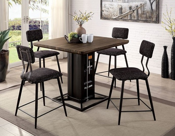 CM3789BK-PT-5PK 5 pc 17 stories fonthills dicarda container style distressed walnut wood black metal counter height dining table set