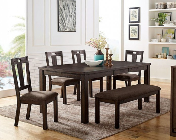 CM3790T-6PC 6 pc Canora grey mel brinley walnut finish wood dining table set with bench