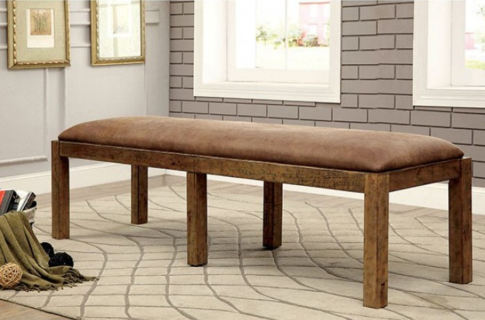 CM3829BN Gianna rustic pine finish wood dining bench with upholstered seat