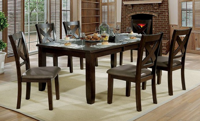 Awe Inspiring Cm3857T 7Pc 7 Pc Josie Brown Cherry Finish Wood Dining Table Set Caraccident5 Cool Chair Designs And Ideas Caraccident5Info