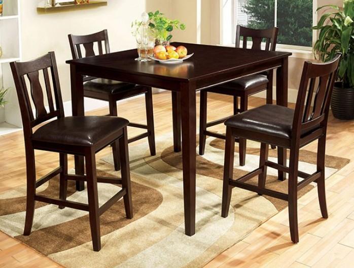CM3888PT-5PK 5 pc Hokku designs petite west creek II espresso finish wood counter height dining table set