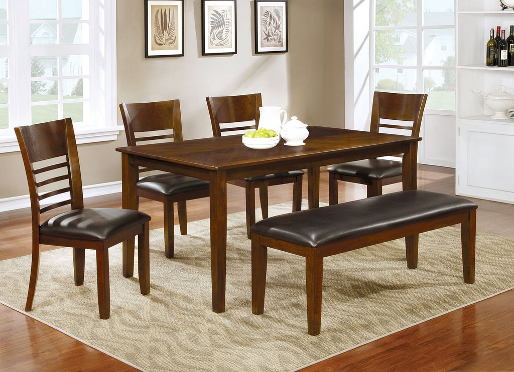 CM3916T-60-6PC 6 pc Alcott hill shirlene hillsview i brown cherry finish wood dining table set