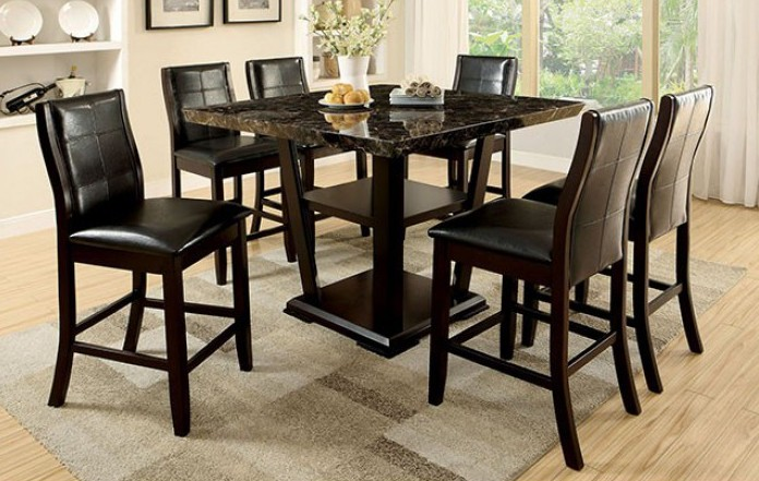 CM3933PT-7PC 7 pc Leo minor clayton II dark cherry finish wood faux marble top counter height dining table set