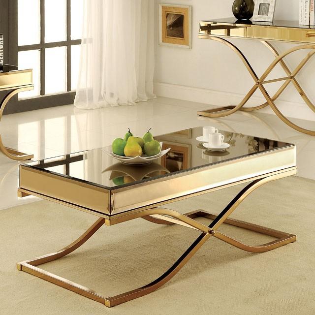 CM4230-C Sundance brass metal and beveled mirror finish coffee table