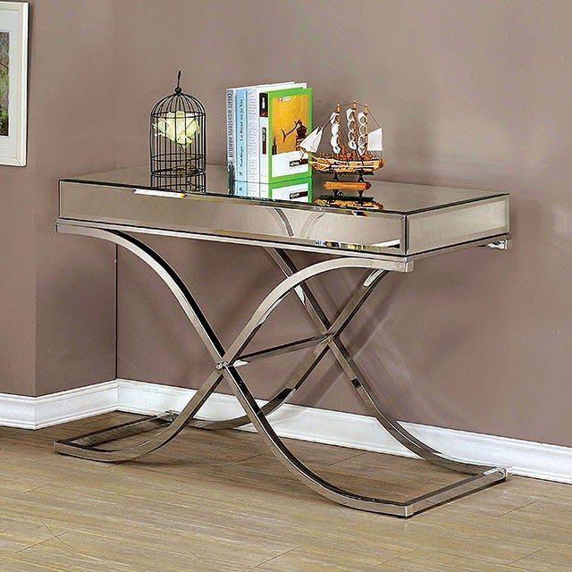 CM4230CRM-S Sundance chrome metal and beveled mirror finish sofa table