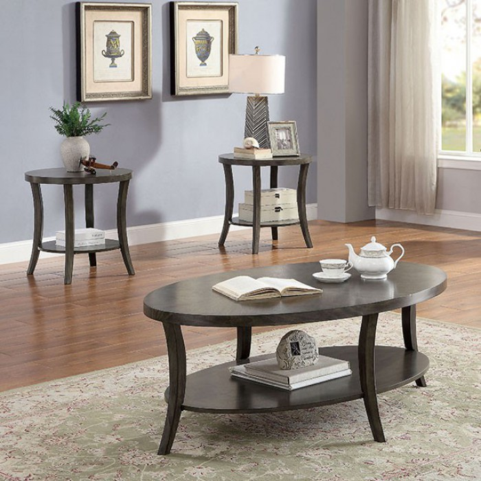 CM4334GY-3PK 3 pc Paola grey finish wood oval coffee and round end table set