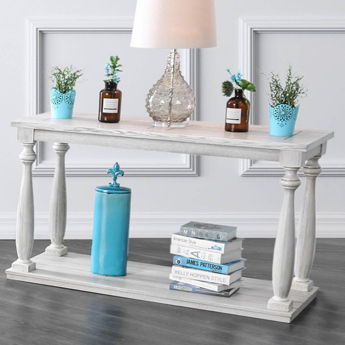 Furniture of america CM4520S Arlington antique white finish wood rustic style sofa table