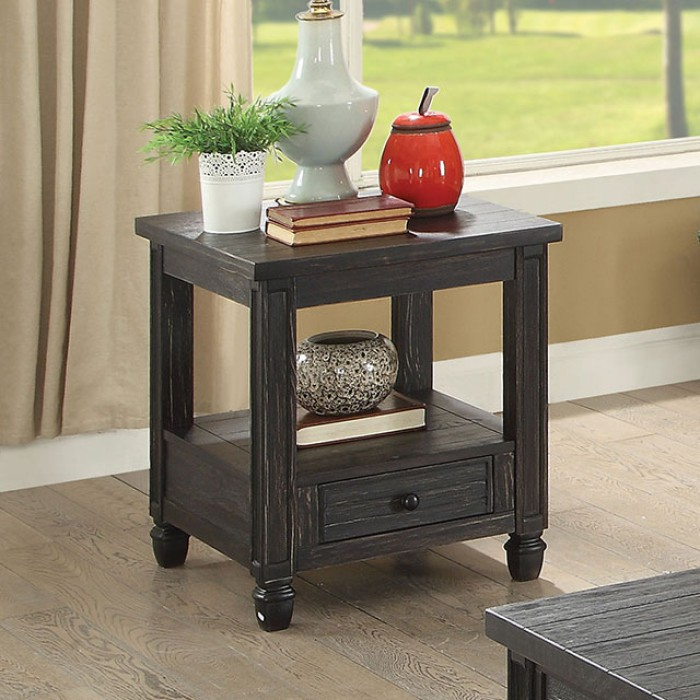 Furniture of america CM4615BK-E Suzette antique black finish wood end table with drawer