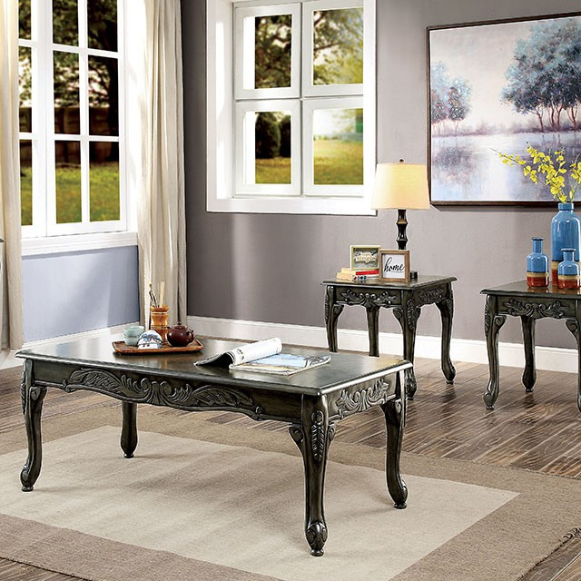 CM4914GY-3PC 3 pc cheshire grey finish wood carved accents coffee and end table set