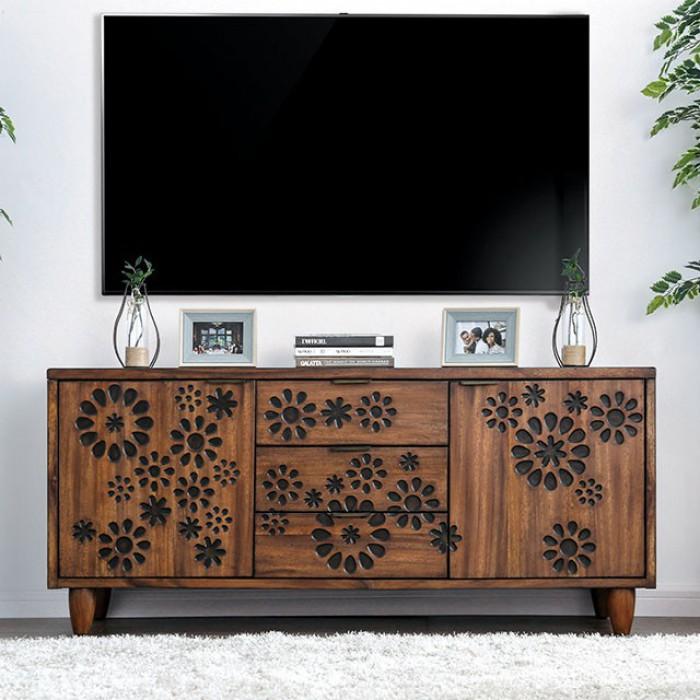 "CM5362-TV Amarantha dark oak finish wood floral front design 64"" tv console media stand"
