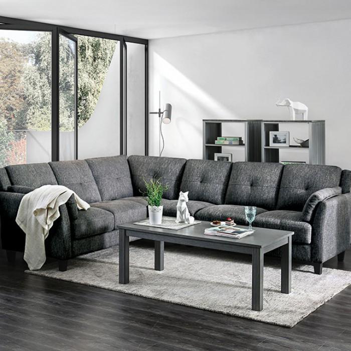 CM6021 2 pc Yazmin gray linen like fabric sectional sofa set