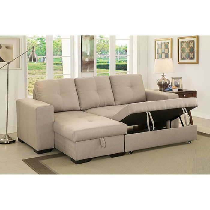Furniture of america CM6149IV 2 pc denton ivory fabric sectional sofa with pull out sleeping area