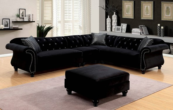 CM6158BK 4 pc jolanda ii collection black fabric sectional sofa with nail head trim accents