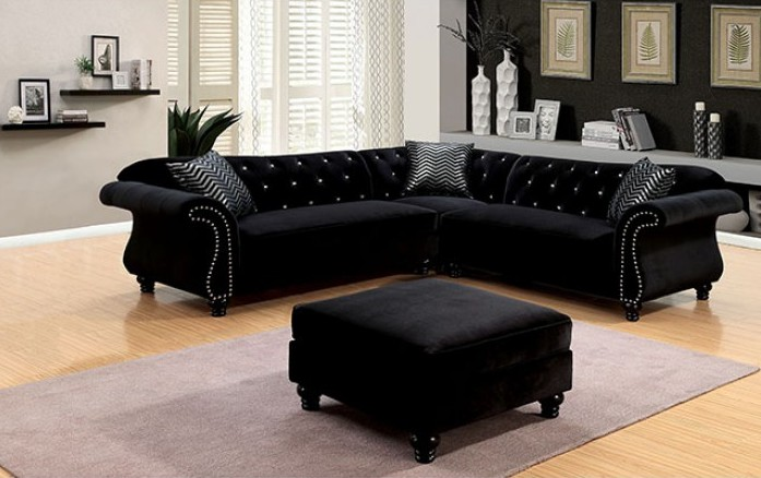 CM6158BK 3 pc jolanda ii collection black fabric sectional sofa with nail head trim accents