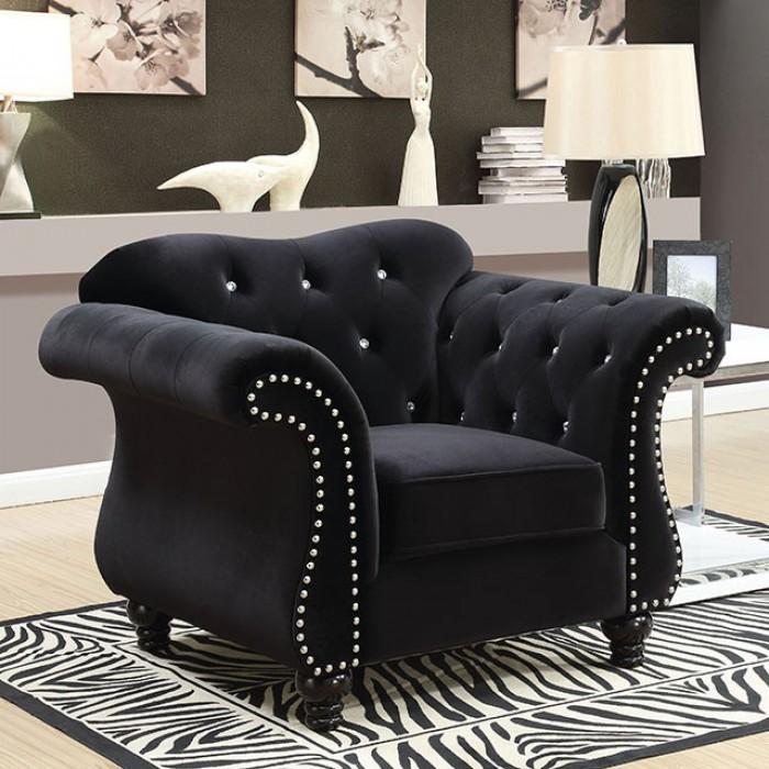 CM6159BK-CH Jolanda black flannelette fabric accent chair with tufted backs
