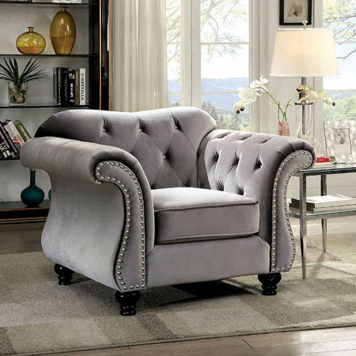 Outstanding Cm6159Gy Ch Jolanda Gray Flannelette Fabric Accent Chair With Tufted Backs Andrewgaddart Wooden Chair Designs For Living Room Andrewgaddartcom