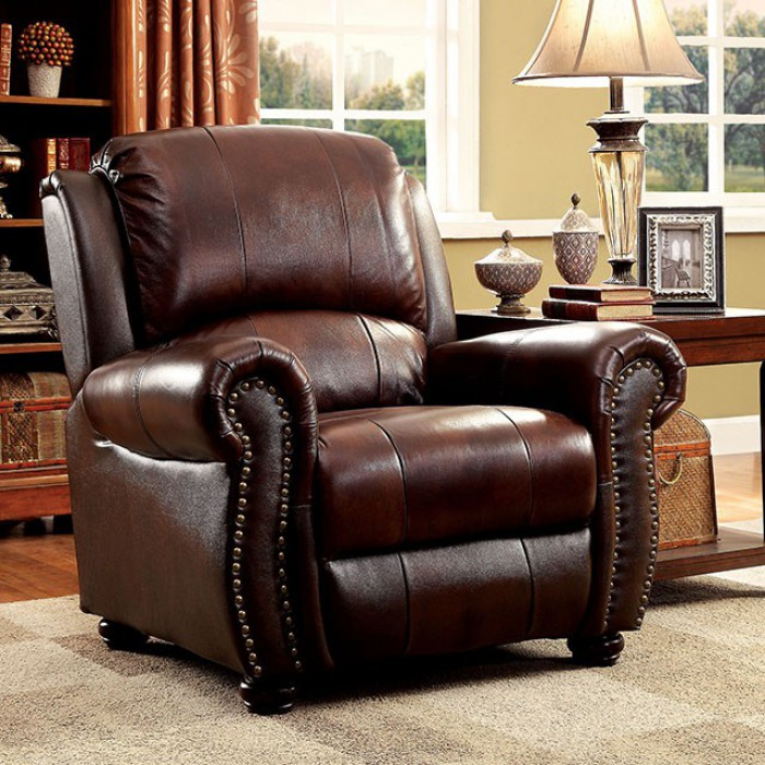 """CM6191-CH Turton brown top grain leather match accent chair. Chair measures 40 1/8"""" x 38 5/8"""" x 39 3/8"""" H. Some assembly required."""