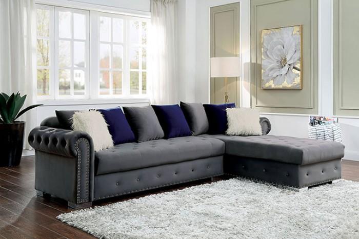 CM6239GY 2 pc Orren ellis wilmington grey velvet like fabric sectional sofa set with chaise