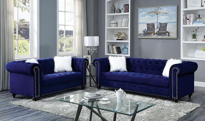 CM6240BL 2 pc Giacomo glam nail head trim tufted blue velvet like fabric sofa and love seat set
